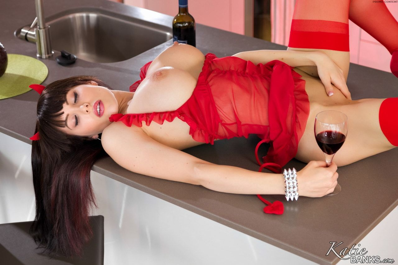 Hot amateur Katie Banks drinks a little wine and plays with horny pussy